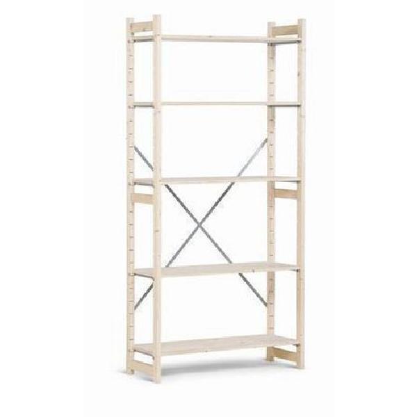 Dřevěné regály, základní, 209 x 97 x 30 cm, 5 polic, smrk (MB-784060)