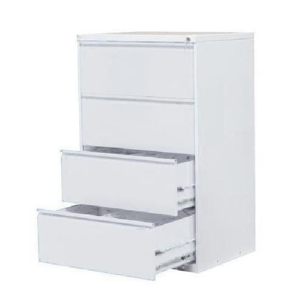 Dvouřadá kovová kartotéka A4 Exe, 4 zásuvky, světle šedá (MB-116435)