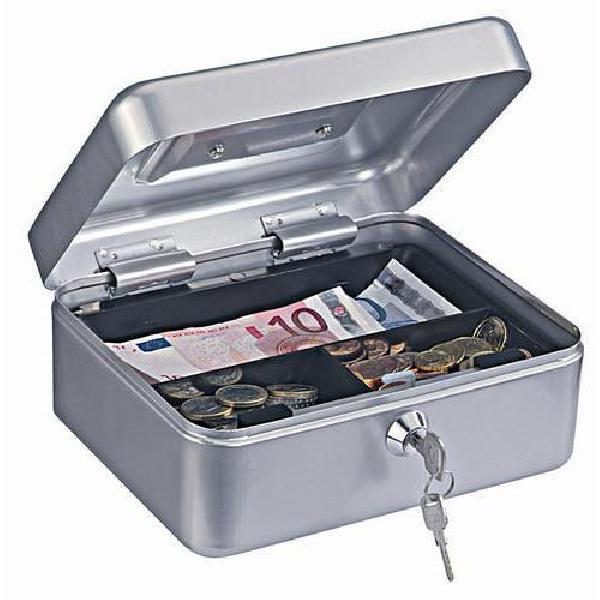Přenosná pokladna, 3 přihrádky, stříbrná, 9 x 20 x 16,5 cm (MB-885436)
