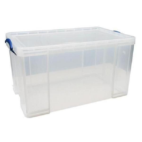Plastový úložný box s víkem na klip, průhledný, 84 l (MB-932306)