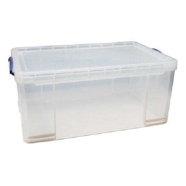 Plastový úložný box s víkem na klip, průhledný, 64 l (MB-932305)