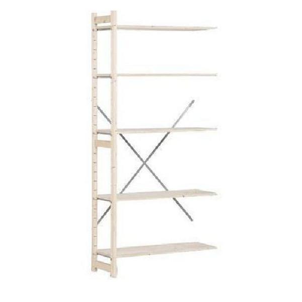 Dřevěné regály, přístavbový, 209 x 97 x 30 cm, 5 polic, smrk (MB-784063)