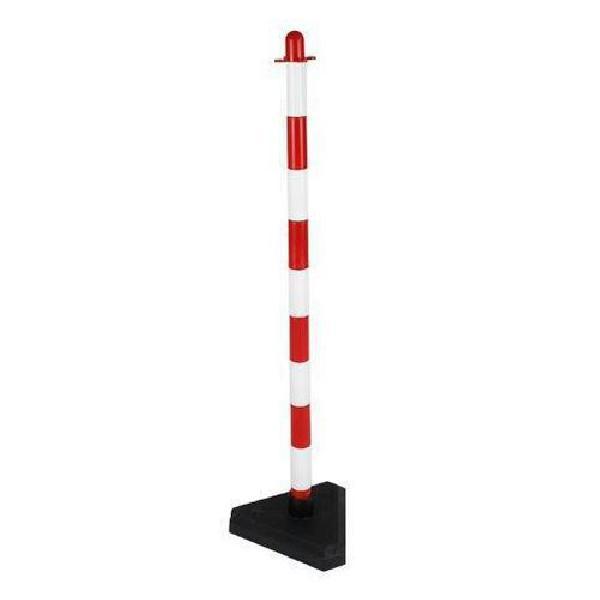 Plastový zahrazovací sloupek Dong, výška 90 cm, bílý/červený (MB-892134)