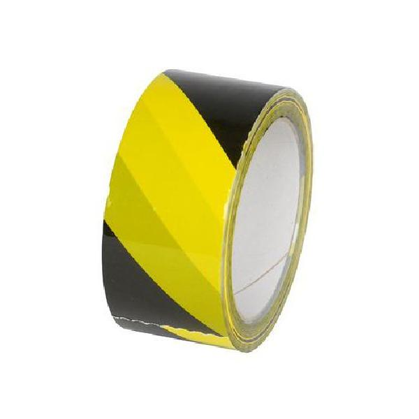 Výstražná lepicí páska, šířka 50 mm, černá/žlutá (MB-018224)