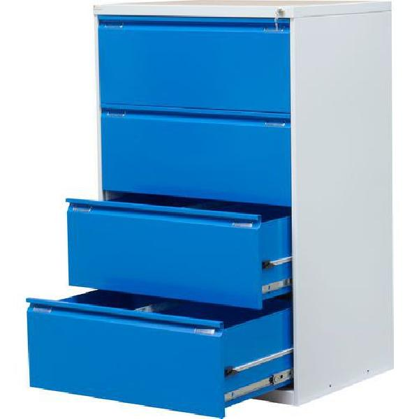 Dvouřadá kovová kartotéka A4 Exe, 4 zásuvky, modrá (MB-116436)