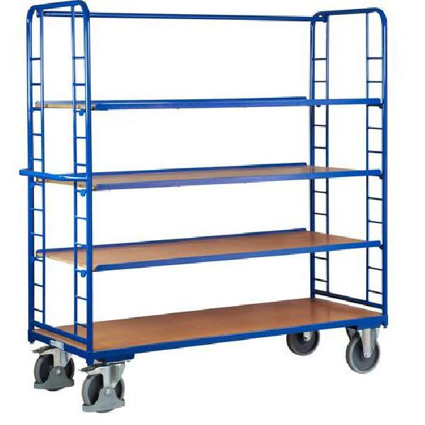 Vysoký policový vozík s madlem a šikmými policemi, do 400 kg, 4 police (MB-1065225)