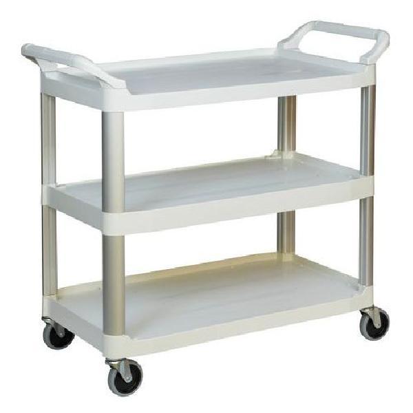 Plastový policový vozík se dvěma madly, do 135 kg, 3 police s vyvýšenými hranami (MB-949109)