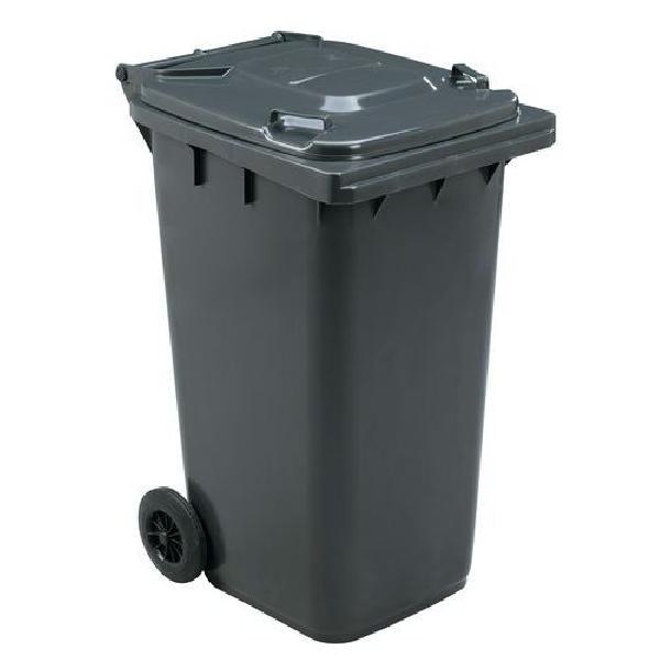 Plastová venkovní popelnice Manutan na tříděný odpad, objem 240 l, šedá (MB-840507)