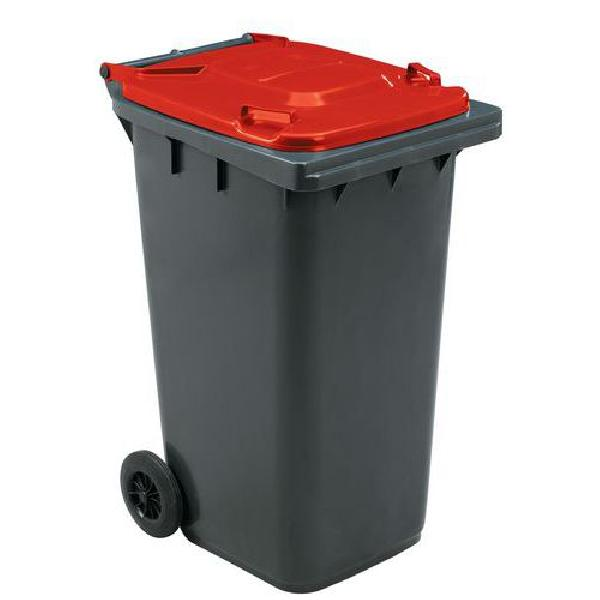 Plastová venkovní popelnice Manutan na tříděný odpad, objem 240 l, červená (MB-840509)