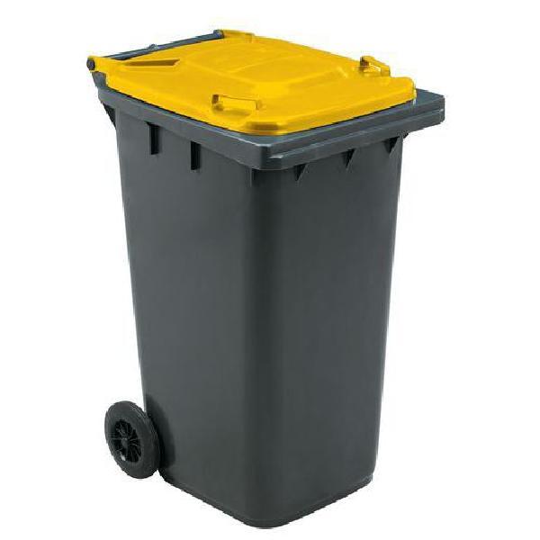 Plastová venkovní popelnice Manutan na tříděný odpad, objem 240 l, žlutá (MB-840506)
