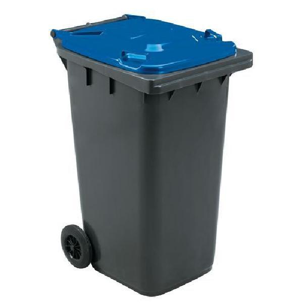 Plastová venkovní popelnice Manutan na tříděný odpad, objem 240 l, modrá (MB-840505)