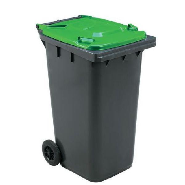Plastová venkovní popelnice Manutan na tříděný odpad, objem 240 l, zelená (MB-840508)