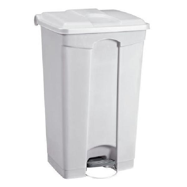 Plastový odpadkový koš Manutan, objem 90 l, bílý (MB-1651816)