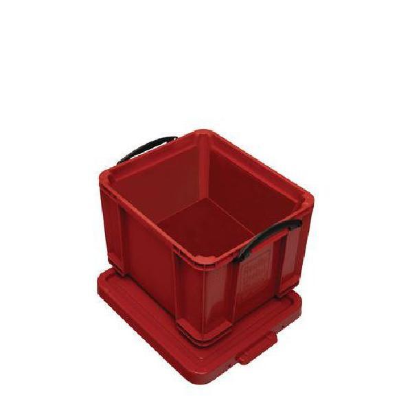 Plastový úložný box s víkem na klip, červený, 35 l (MB-932342)