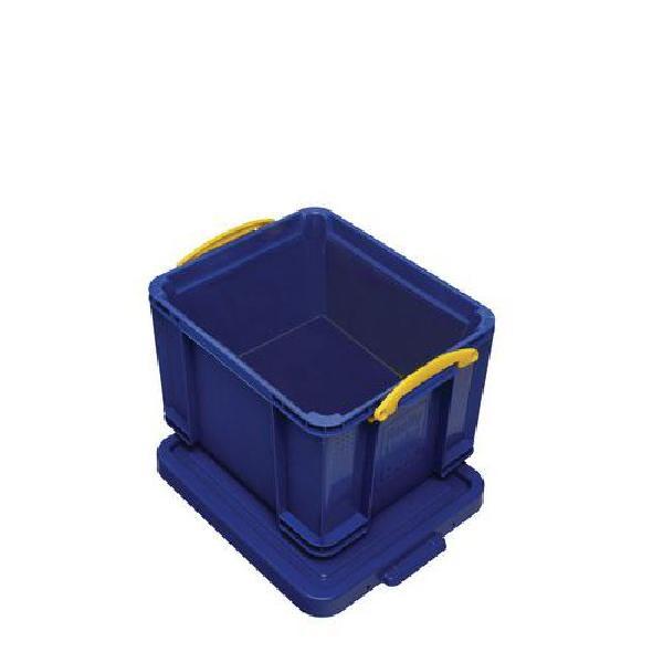 Plastový úložný box s víkem na klip, modrý, 35 l (MB-932345)