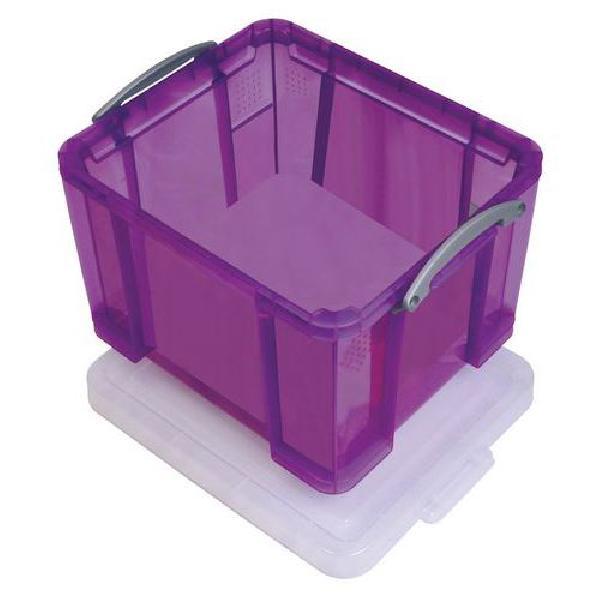 Plastový úložný box s víkem na klip, fialový, 35 l (MB-932347)