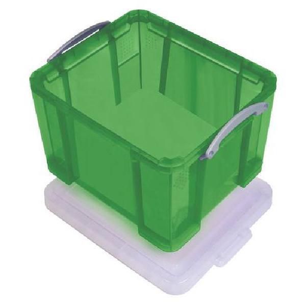 Plastový úložný box s víkem na klip, zelený, 35 l (MB-932348)