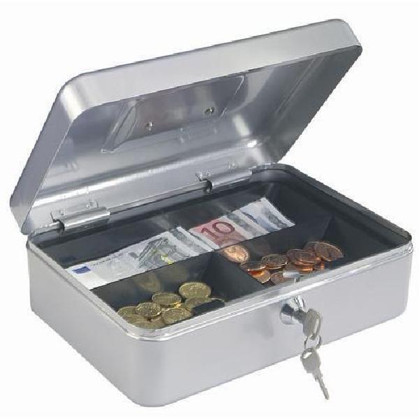 Přenosná pokladna, 3 přihrádky, stříbrná, 8 x 26 x 19,5 cm (MB-885439)