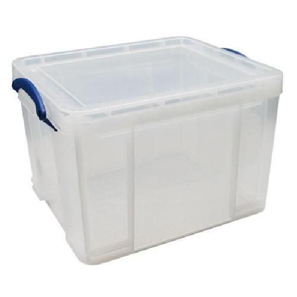 Plastový úložný box s víkem na klip, průhledný, 35 l (MB-932303)