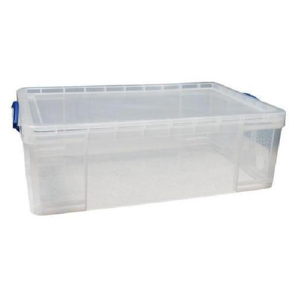 Plastový úložný box s víkem na klip, průhledný, 50 l (MB-932304)