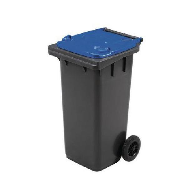 Plastová venkovní popelnice Manutan na tříděný odpad, objem 120 l, modrá (MB-840500)