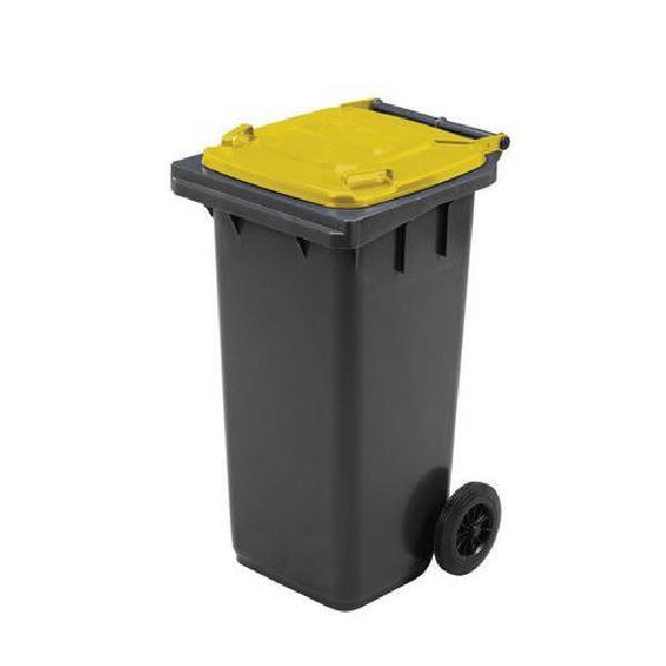 Plastová venkovní popelnice Manutan na tříděný odpad, objem 120 l, žlutá (MB-840501)