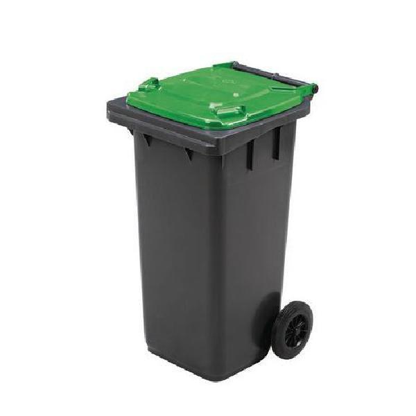 Plastová venkovní popelnice Manutan na tříděný odpad, objem 120 l, zelená (MB-840503)