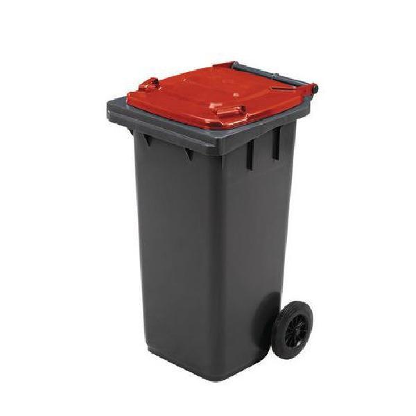 Plastová venkovní popelnice Manutan na tříděný odpad, objem 120 l, červená (MB-840504)