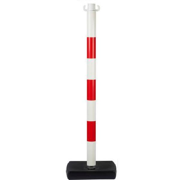 Plastový zahrazovací sloupek Tao, výška 90 cm, bílý/červený (MB-853042)