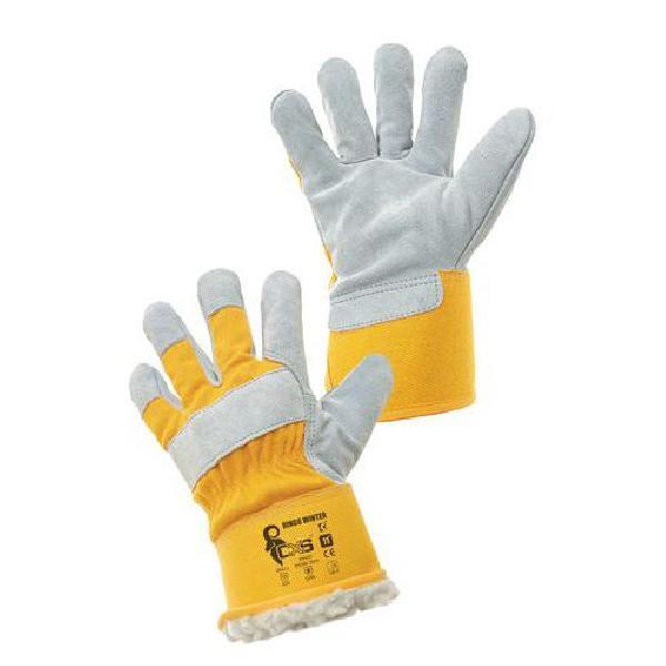 Zimní kožené rukavice CXS, žluté/bílé (MB-8380003)
