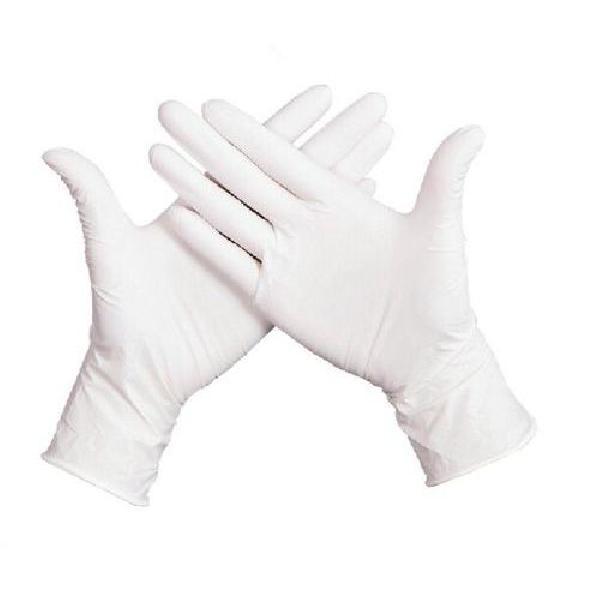 Jednorázové latexové rukavice Manutan, bílé, vel. 8 (MB-1501001)
