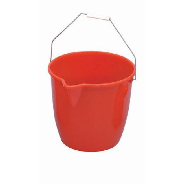 Plastový kbelík Manutan s výlevkou, 12 l, červený (MB-1500040)