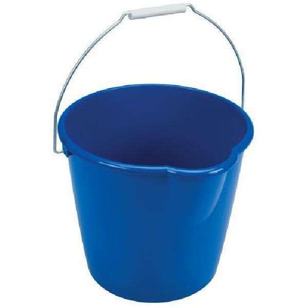 Plastový kbelík Manutan s výlevkou, 12 l, modrý (MB-1500044)