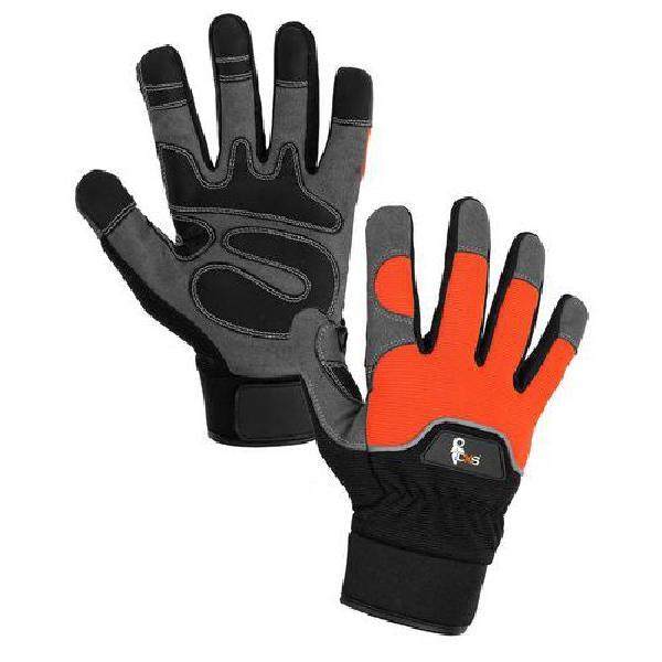 Kožené rukavice CXS Puno ze syntetické kůže s reflexním prvkem, černé/oranžové (MB-8750394)