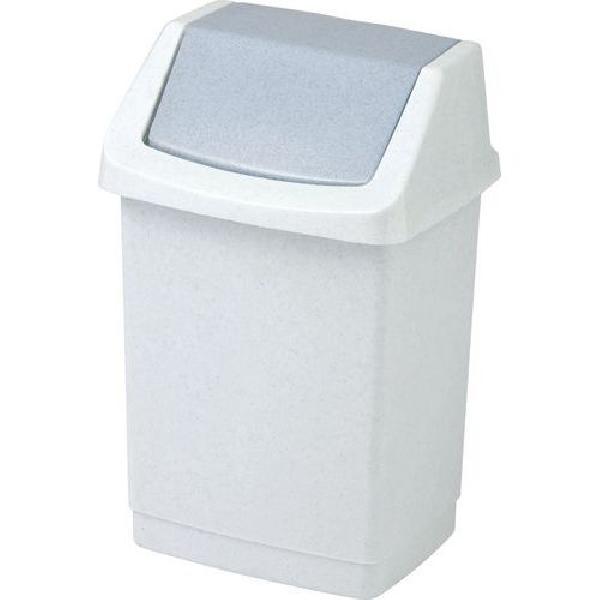 Plastový odpadkový koš Simple, objem 50 l, bílý/šedý (MB-122010)