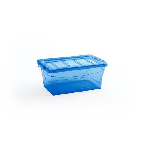 Plastový úložný box s víkem, modrý, 11 l (MB-122013)