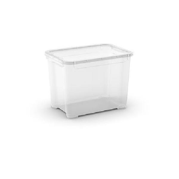 Plastový úložný box s víkem, průhledný, 20 l (MB-122019)
