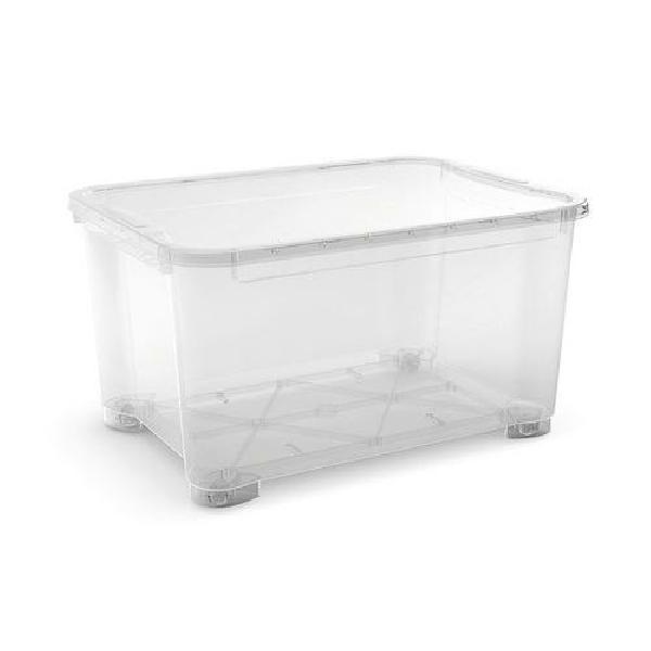 Plastový úložný box s víkem, průhledný, 145 l (MB-122023)