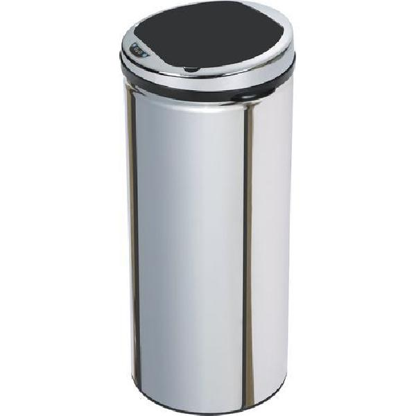 Bezdotykový kovový odpadkový koš, objem 42 l, stříbrný (MB-1133135)