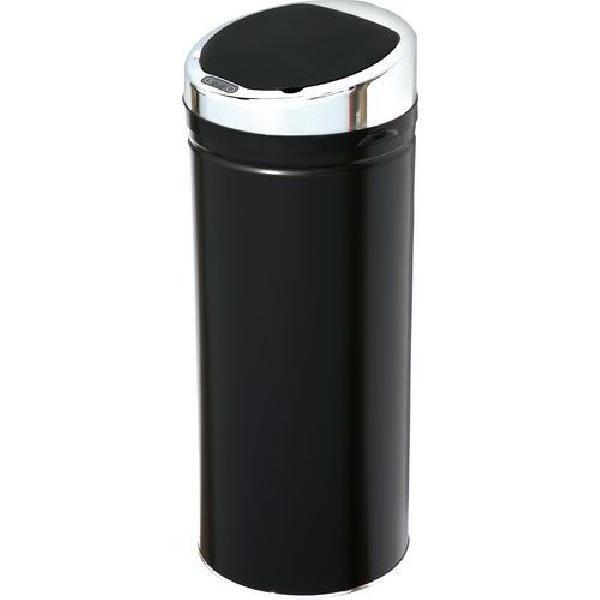 Bezdotykový kovový odpadkový koš, objem 50 l, černý (MB-1133139)